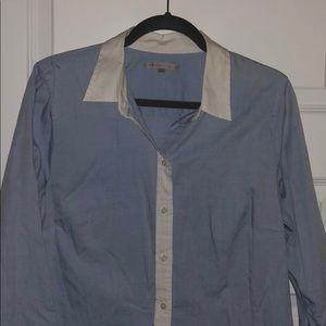 Gap blue and white button down shirt